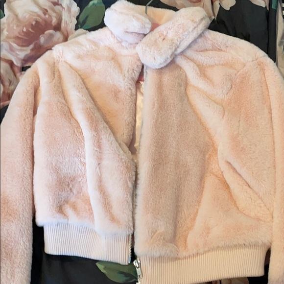 pink fuzzy jacket